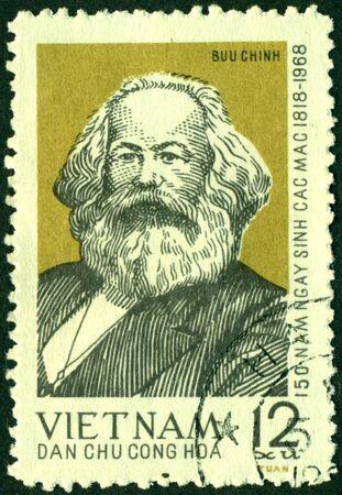 economist: Vietnam - CIRCA 1968: A Stamp printed in the Vietnam shows Karl Marx, circa 1968. Stock Photo