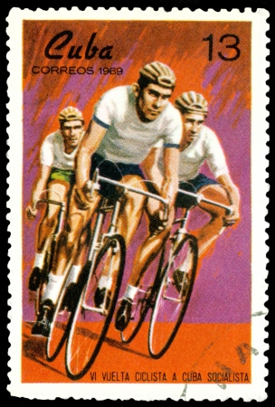 postmark: CUBA- CIRCA 1969: a stamp printed by  Cuba, shows races on bicycles , circa 1969  Stock Photo