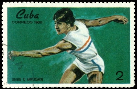 CUBA- CIRCA 1969: a stamp printed by  Cuba, shows discus thrower , circa 1969  photo