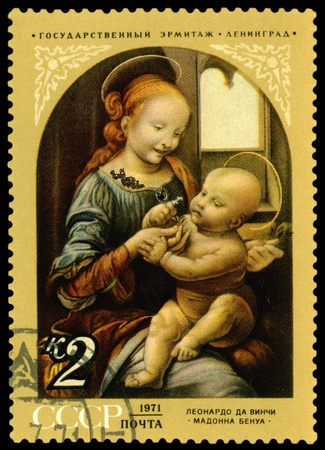 USSR - CIRCA 1971: a stamp printed by USSR  shows a picture of artist  Leonardo da Vinci: