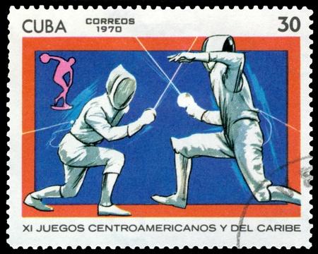 fencers: CUBA- CIRCA 1970: a stamp printed by  Cuba, shows fencers, circa 1970