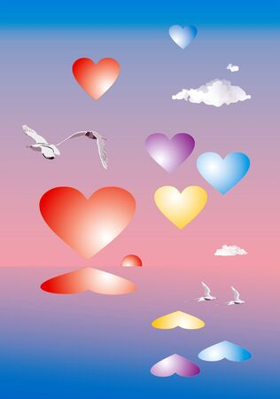 day saint valentin: Sea, birds and heart. Illustration to subjects of the Day Saint Valentin.