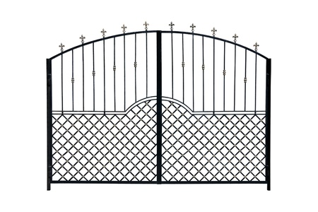 Modern  light  forged  decorative gates.  Isolated over white background. photo