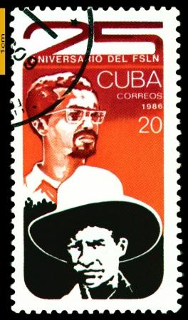 CUBA - CIRCA 1986  A Stamp printed in the Cuba shows portrait Sandino  Sandinista  Movement in Nicaragua  FSLN, 25th Anniversary, circa 1986  Editöryel