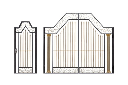 iron gate: Modern  light  forged  decorative gates and wicket.  Isolated over white background.