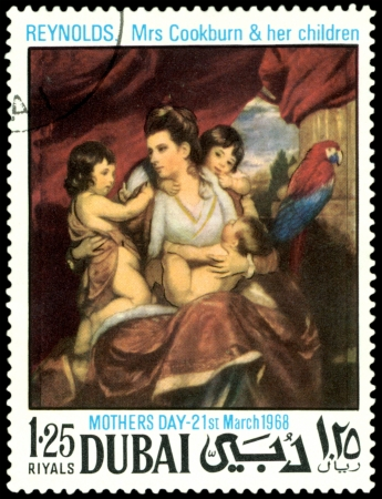 philatelic:  Dubai - CIRCA 1968: a stamp printed by Dubai  shows a picture of artist  Reynolds