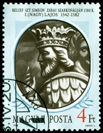 Hungary - CIRCA 1988: a stamp printed by Hungary shows portrait king of Hungary Ludwig I (reg.1342 - 1382), circa 1988, Hungary