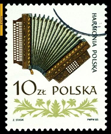 POLAND - CIRCA 1984: A Stamp printed by Poland shows  Accordion , series  Folk  instruments, circa 1984  photo
