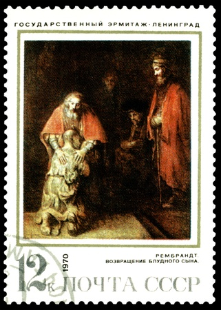 USSR - CIRCA 1970  a stamp printed by USSR  shows a picture of artist  Rembrandt