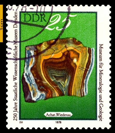 GERMANY- CIRCA 1978: stamp printed by Germany, shows mineral Agate from Wiederau, Dresden Museum of Natural Yistory, 250th anniversary, circa 1978.