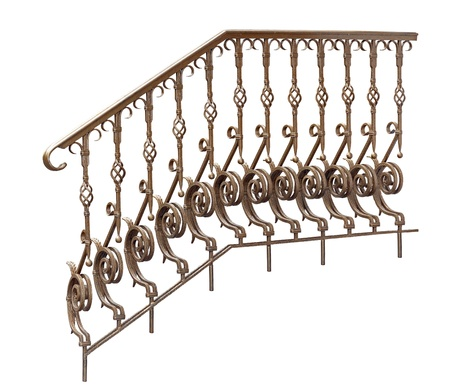 Old decorative  banisters, railing  Isolated over white background  photo