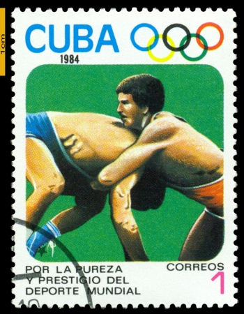 CUBA- CIRCA 1984: a stamp printed by Cuba shows game in Wrestling, Olimpics Games, Los Anbgeles 1984, USA, circa 1984