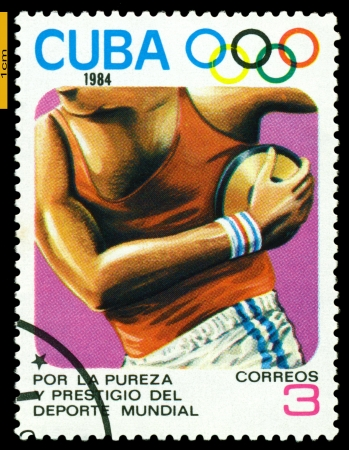 CUBA- CIRCA 1984: a stamp printed by Cuba shows  Discus,  Olimpics Games, Los Anbgeles 1984, USA, circa 1984 Stock Photo - 20449437