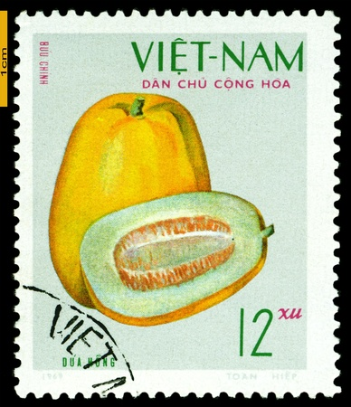 philatelic: VIET NAM- CIRCA 1969: a stamp printed in Vietnam shows image  The Fruits Pumpkin, series Fruits and Vegetables, circa 1969