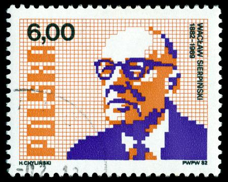 mathematician: POLAND- CIRCA 1982: A Stamp printed in the Poland shows  Waclaw Sierpinski - the great polish  mathematician, public figure, circa 1982