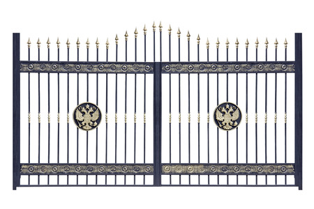 Decorative  Gates from metal  Isolated over white  photo