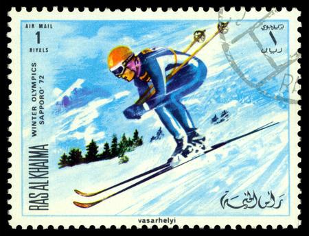 khaima:  RAS AL KHAIMA - CIRCA 1968  a stamp printed by  RAS  AL KHAIMA  shows skiers, circa 1968 in Sapporo, Japan Editorial