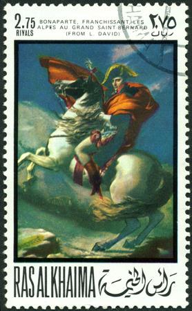 khaima:  RAS AL KHAIMA - CIRCA 1969  a stamp printed by  RAS  AL KHAIMA  shows a picture of artist Jacque Lui David  transition Bonaparte Editorial
