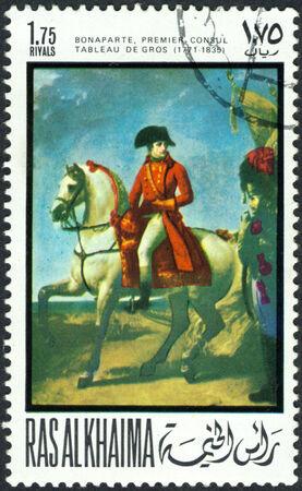khaima: RAS AL KHAIMA - CIRCA 1969  a stamp printed by  RAS  AL KHAIMA  shows a picture of artist  Gros Antoine-Jean   Napoleon after Battle of Marengo , circa 1969