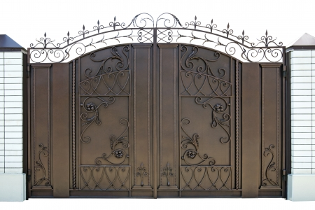 Forged  decorative  gates   Isolated over white  photo
