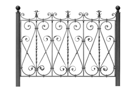 Forged decorative  fence with  Ornaments   Isolated over white background  Stock Photo