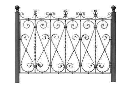 Geschmiedete dekorative Zaun mit Ornamenten auf weißem Hintergrund Standard-Bild