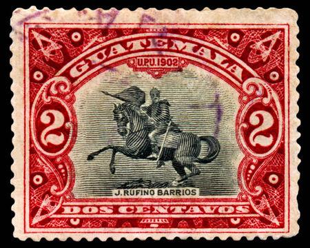 Guatemala -CIRCA 1902  A Stamp printed in the  Guatemala  shows monument Ruffino Barrios, circa 1902 Stok Fotoğraf