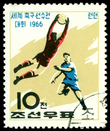 North Korea - CIRCA 1966  a stamp printed by North Korea shows football  players  World  football cup in England, circa 1966