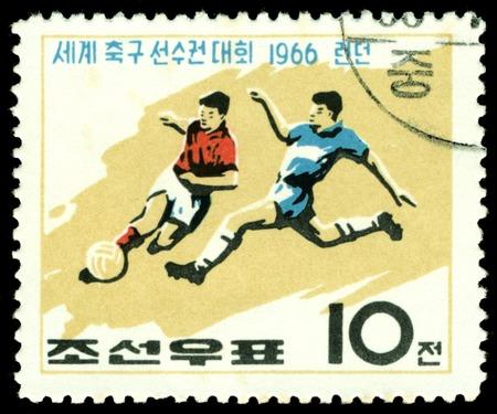 North Korea - CIRCA 1966  a stamp printed by North Korea shows football  players  World  football cup in England, circa 1966