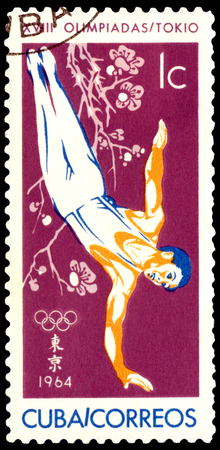 CUBA- CIRCA 1964  a stamp printed by  Cuba, shows  gymnast, Olympic games in Tokyo , circa 1964, Japan