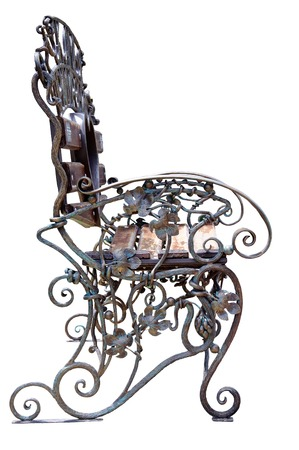 Forged decorative bench with grape ornament  Isolated over white background  photo
