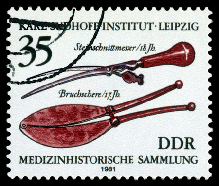 GERMANY- CIRCA 1981  stamp printed by Germany, shows Lithotomy knife,  18th cent, History medical instruments, leipzig, Karl Sudhoff Institute,  circa 1981
