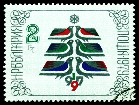 overprint: BULGARIA - CIRCA 1979  a stamp printed by Bulgaria, shows Christmas Tree Made of  Birds - a symbol of the new year