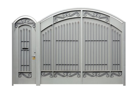 Modern  forged  decorative  gates and Doors   Isolated over white background  photo