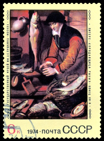 overprint: RUSSIA - CIRCA 1974  a stamp printed by Russia  shows a  picture The Fishmorgen, by Pieters   Foreign paintings in Russian museums, circa 1974