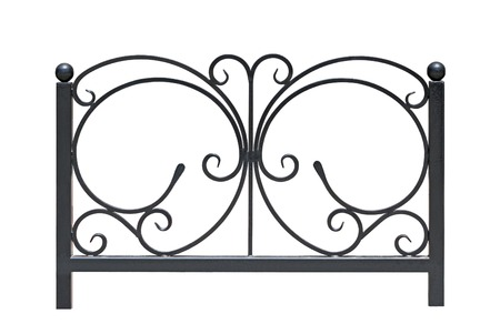Decorative  railing  in old  stiletto  Isolated over white background  photo