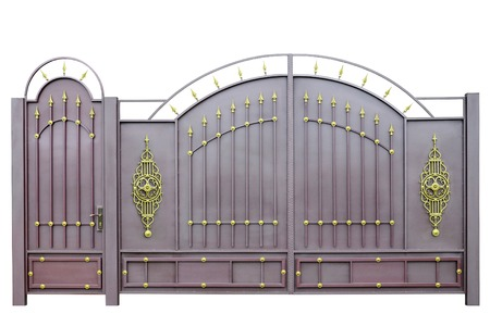iron gate: Forged  decorative  gates  decorated by ornament  Isolated over white background