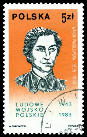 public figure: POLAND- CIRCA 1983  A Stamp printed in the Poland shows  Wanda Wasilewska - the  public figure, 40th anniversary Polish Peoples Army, 40th anniversary,  circa 1983