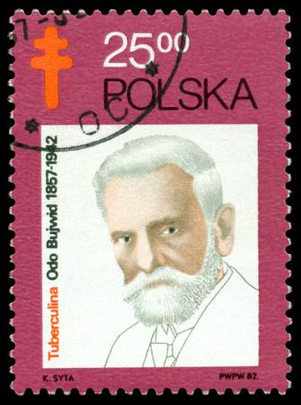 public figure: POLAND- CIRCA 1982  A Stamp printed in the Poland shows  Odo Bujvvid   1857 - 1942  - the  polish  bacteriologist, public figure, circa 1982