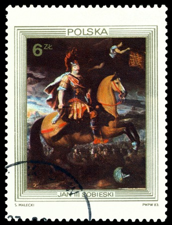 postmail: POLAND  - CIRCA 1983  a stamp printed by Poland shows portrait King John III Sobieski on Horseback   by  Francesco Trevisani  1656-1746 , circa 1983