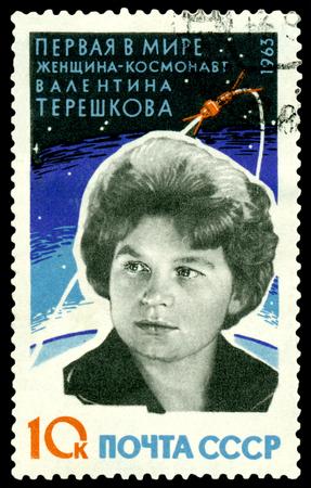 tereshkova: URSS - CIRCA 1963 un francobollo stampato da URSS mostra la prima donna - cosmonauta Valentina Tereshkova, circa 1963 URSS