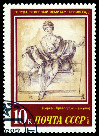 durer: RUSSIA -CIRCA 1987  a stamp printed by Russia shows a picture of artist Albrecht Durer  Justice  Hermitage Museum, series, circa 1987 Stock Photo