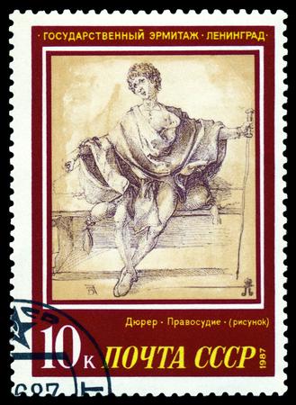 durer: RUSSIA-CIRCA 1987 un timbro stampato dalla Russia mostra un quadro dell'artista Albrecht Durer Giustizia Museo dell'Ermitage, serie, circa 1987