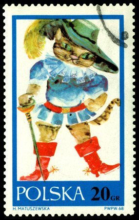 collectible: Poland- CIRCA 1968  a stamp printed by  Poland, shows drawings, cat in boots, circa 1968