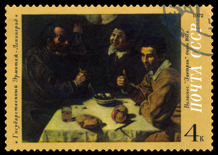 velazquez: RUSSIA -CIRCA 1972  a stamp printed by Russia shows a picture  Breakfast, by Velazquez   Hermitage Museum, Leningrad, series, circa 1972