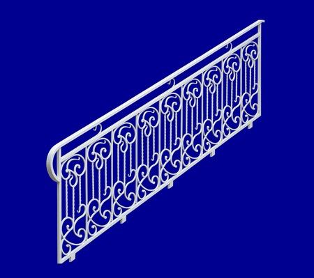 Decorative white railing.. Isolated on a blue background. photo