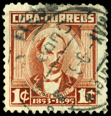 poet: Cuba -CIRCA 1953: A Stamp printed in the Cuba shows poet, writer, revolutionary Jose Julian Marti, circa 1953