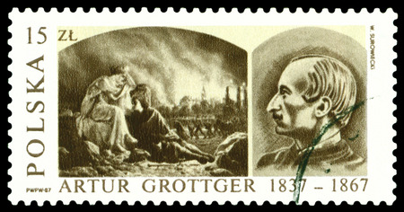 ravage: POLAND  - CIRCA 1987: a stamp printed by Poland shows picture Ravage 1866, by Artur Grottger (1837-1867), circa 1987