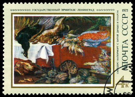 frans: USSR - CIRCA 1973: a stamp printed by USSR   shows  a picture  Still Life, by Frans Snyders, 1881,  series  Paintings in Hermitage, Leningrad, circa 1973 Editorial