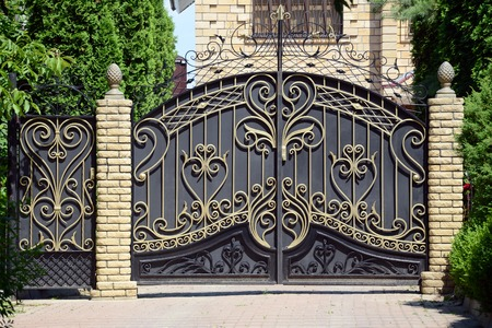 Forged gates and gate. Front of the house.